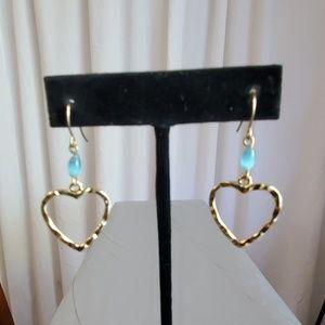 Gold Toned Heart Shaped Pierced Earrings